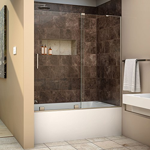 DreamLine Mirage-X 56-60 in. Width, Frameless Sliding Tub Door, 3/8'' Glass, Brushed Nickel Finish by DreamLine