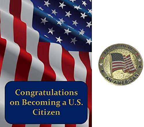 New Citizenship Congratulations Card and Proud to be an American Pin Gift Set
