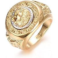 Yoursfs Lion Ring 18K Gold/Sliver Plated Hip Hop Ring Lion Ring Men's Titanium Ring