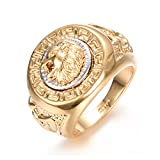 Yoursfs Lion Ring 18K Gold Plated Hip Hop Ring Lion Ring Men's Titanium