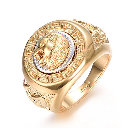 Yoursfs Lion Ring 18K Gold/Sliver Plated Hip Hop Ring Lion Ring Men's Titanium Ring (Yellow, 7)...