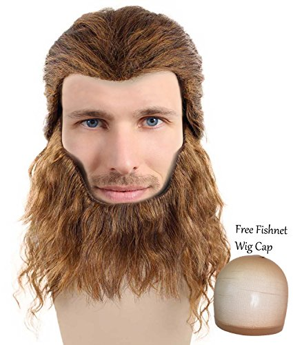 [The Beast Costume Hair Wigs w/ Wig Cap Party Halloween Beauty And The Beast Cosplay Wig for Men] (Halloween Costumes With Beards And Long Hair)