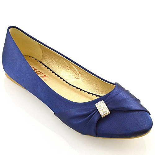 Essex Glam Women Satin Diamante Brooch Bridal Pumps Schoenen Navy Satin
