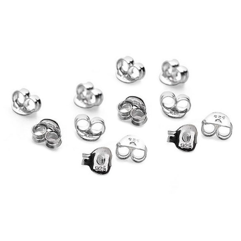 15 x Pairs(30) Rhodium Plated Sterling Silver Butterfly Earring Backs Scrolls Push Fit .925 (5.5mm x 3mm) LANMPU LU303
