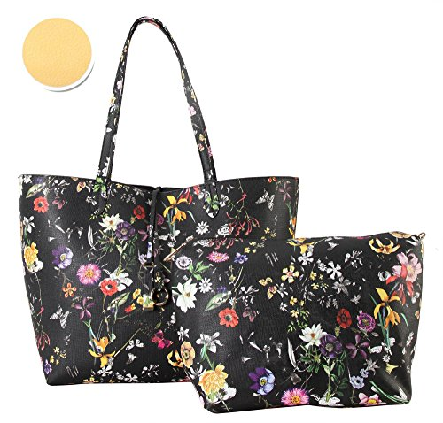 Diophy PU Leather Colorful Floral Pattern Two Tone Reversible Large Tote Womens Purse Handbag with Matching Crossbody Bag 2 Pieces Set FL-6000