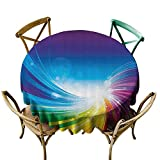Printsonne Indoor Outdoor Spillproof Tablecloth for Spring/Summer/Party/Picnic (70' Round), Multi, Colorful Home Decor, Funky Pop Art Stylized Radiant Lines in Wave-Like Color Reflections Image