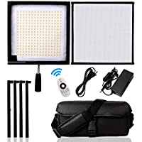 FOSITAN FL-3030A 1x1/30x30cm Bi-Color LED Light Panel Mat, Lightweight Flexible Foldable 48W 256 LEDs 3200K-5500K Dimmable Photography Light Panel on Fabric with Dimmer and Hand Grip