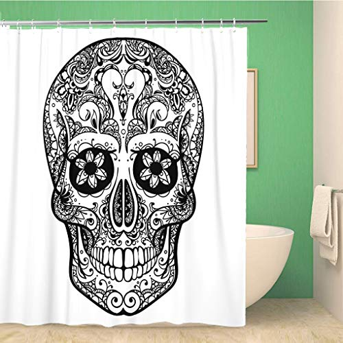 Awowee Bathroom Shower Curtain Sugar Black and White Tattoo Skull Mexican Dead Day Polyester Fabric 60x72 inches Waterproof Bath Curtain Set with Hooks