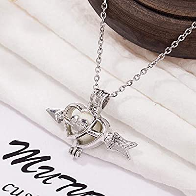 Silver Plate An arrow through Double Love Heart Pearl Cage Open Pendant Necklace