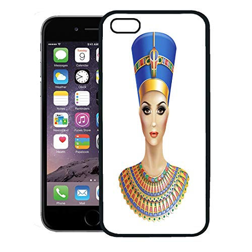 Semtomn Phone Case for iPhone 8 Plus case Cover,Egypt Egyptian Queen Nefertiti Pharaoh Cleopatra Crown Pyramids Female,Rubber Border Protective Case,Black ()