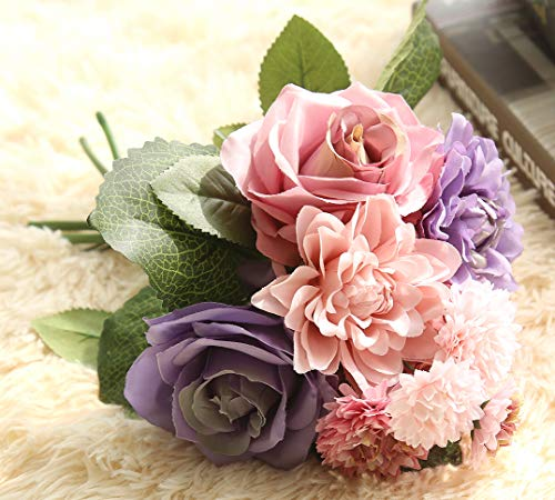 Lemax Artificial Flowers,10 Heads Rose Dahlia Daisy Fake Flower Arrangement Bridal Wedding Bouquets for Home Garden Party Office Décor (Colorful)