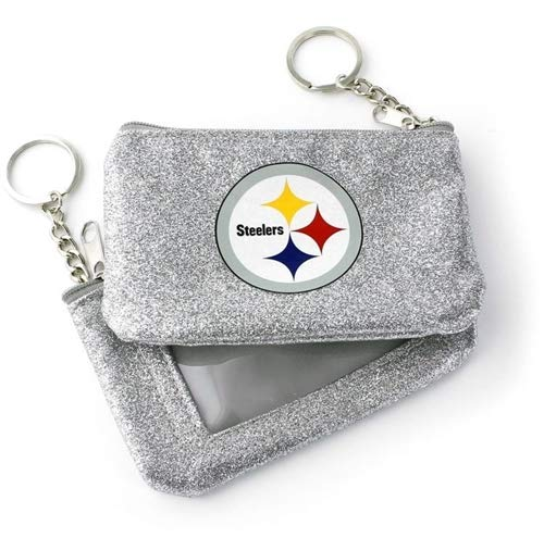 (aminco Pittsburgh Steelers Silver Sparkle ID Coin Purse Keychain)