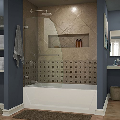 DreamLine Aqua Uno 34 in. Width, Frameless Hinged Tub Door, 1/4'' Glass, Brushed Nickel Finish by DreamLine