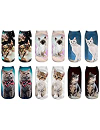 WEILAI SOCKS Women Girls 6 Pack Animal Cartoon Printed Funny Casual Ankle Socks