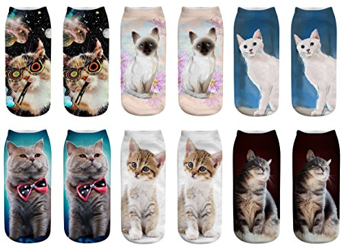 WEILAI SOCKS Women Girls 6 Pack 3D Crazy Animal Cartoon Printed Funny Casual Ankle Socks (Cat)