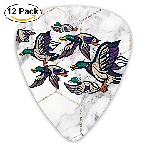 - 12-Pack Custom Guitar Picks Male Mallard Ducks Assorted Various Thickness Plectrum for Bass