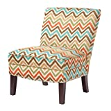 Contemporary Orange Green Blue Brown Chevron Print Upholstered Armless Accent Chair with Nailhead Trim and Dark Wood Legs - Includes ModHaus Living Pen