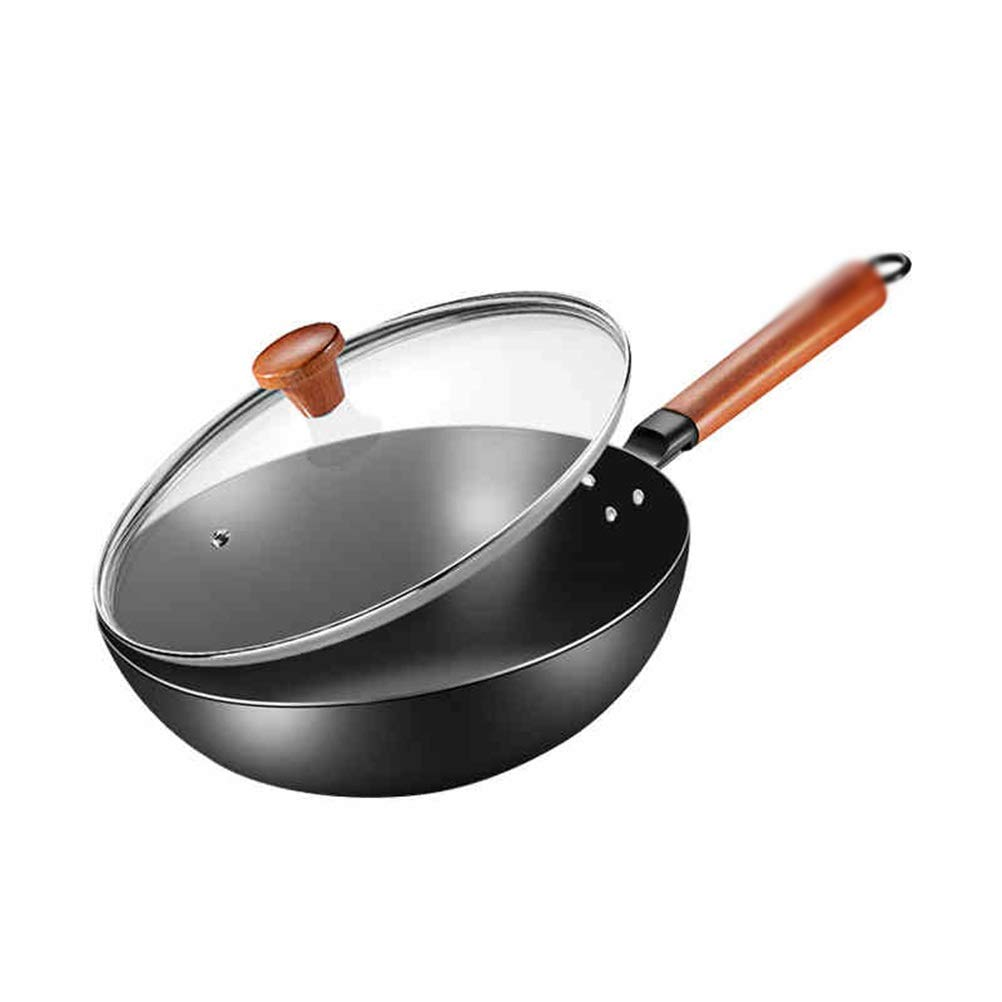 WYQSZ Wok - Iron Pot Home Cooking Pot Light And Easy To Spoon Wooden Handle Stainless Uncoated Pot Multi-function Wok -fry pan 2365
