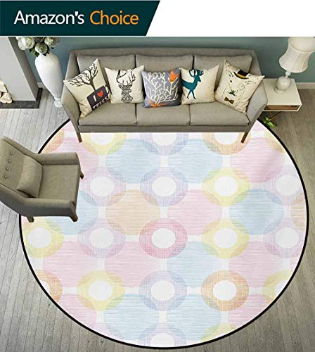 RUGSMAT Pastel Art Deco Pattern Non-Slip Washable Round Area Rug,Ring Shapes and Big Spots Dots Symmetrical Overlapping Figures Geometric Feminine Foam Mat Living Room Decor,Diameter-35 Inch