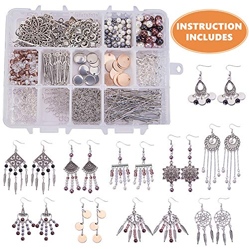 SUNNYCLUE 1 Box DIY 10 Pairs Chandelier Bohemian Earring Making Starter Kit-Chandelier Earring Connector Charm Findings Nickel Free, Assorted Beads, Earring Hooks Jewelry Making Supplies Kit, Style -