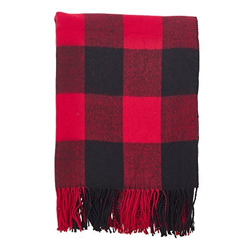 Fringed Fleece Throw - Fennco Styles Buffalo Plaid Checkered Tassel Throw Blanket - 50