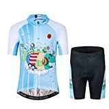 Kids Cycling Jersey Short Set Girls Boys Children Bike Gel Padded Bicycle Short Sleeve Jersey Suit XXL