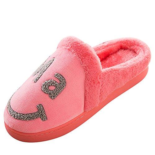 Chaussons Intérieur Rouge Antidérapant Pastèque Chaussures enfant Parent Slipers Smiley Chaud de Pantoufles 54zATx