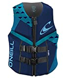 O'Neill Wetsuits Women's Reactor USCG Life Vest, Navy/River/Turquoise, 6