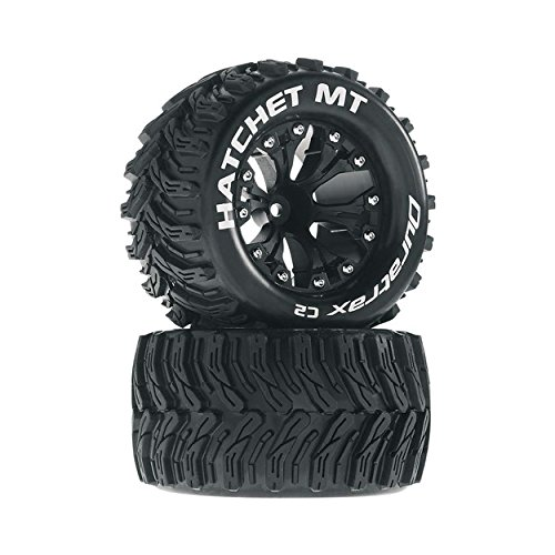 Hatchet MT 2.8 1/10 RC Monster Truck Tires with Foam Inserts: C2 Soft, Mounted, 6-Spoke Front/Rear Wheels, Black, 1/2 Inch Offset, Set of 2 ()