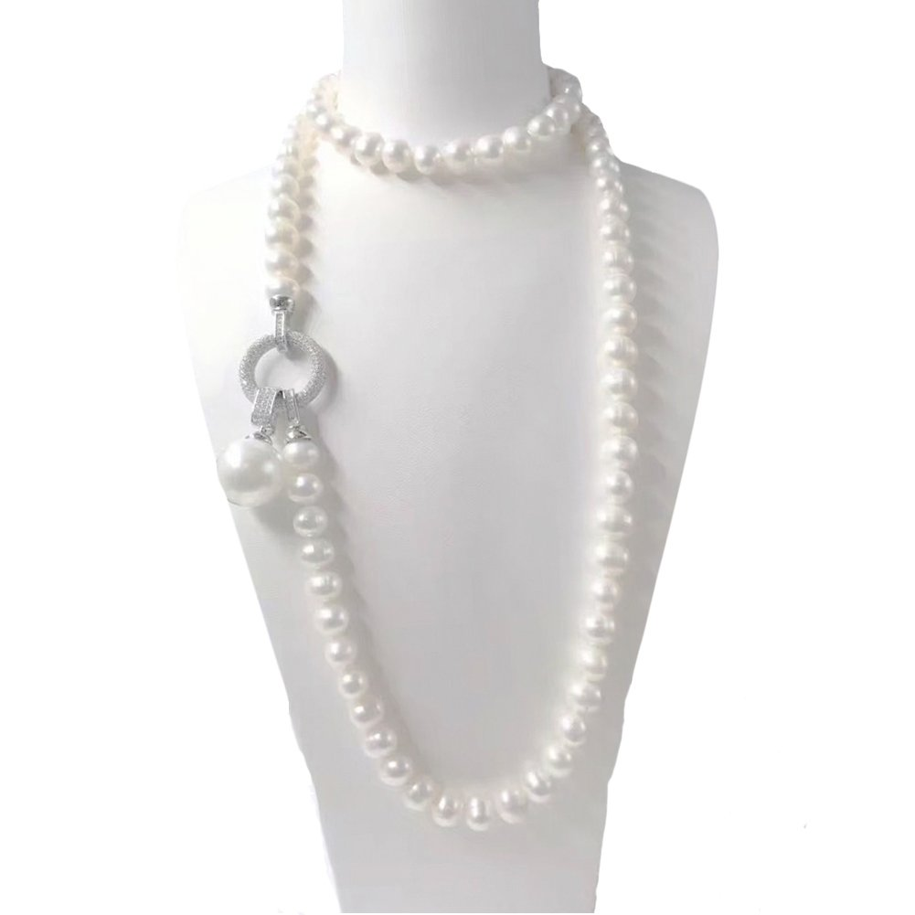 Jade Angel White Simulated Shell Pearl Strands Sweater Pendant Necklace with Cubic Zirocnia Charm