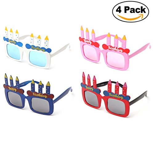 Newbee Fashion-Happy Birthday Cake Candles 4 Packs Shaped Party Sunglasses Fun Boys Girls Birthday Props (One Size Fits - Sunglasses 4 Pack