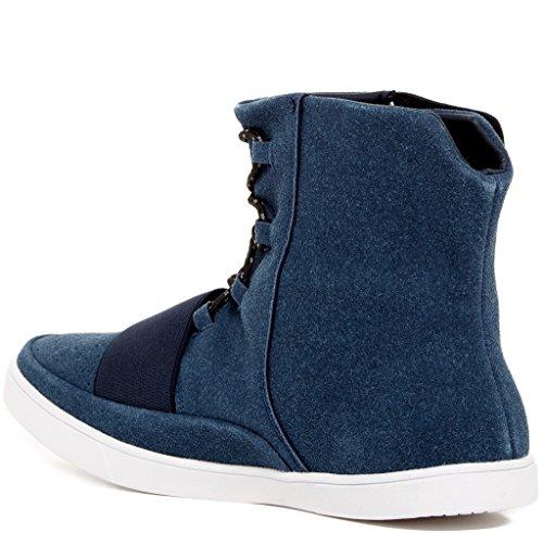 Giraldi Dotan Mens Mode Alla Vegan Material Av Hög Topp Sneakers Marinen