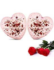 Mystery Rose Bath Bombs Set, 2 Pack Heart Shape Fizzies Kit, Sweet SPA Bubble Baths, Gift for Girlfriend, Wife, Lover in Valentines Day, Anniversary