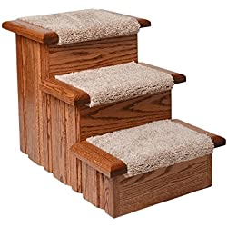 Premier Pet Steps Tall Raised Panel Dog Steps, Carpeted Tread with Stained Early American, 17-Inch