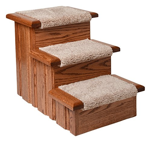 Premier Pet Steps Tall Raised Panel Dog Steps, Carpeted Tread with Stained Early American, 17-Inch DS3cOEA