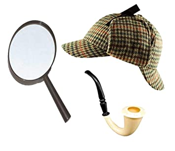 b8727255 Sherlock Holmes Fancy Dress Accessory Set Deerstalker Hat + Magnifying  Glass + Victorian Look Pipe Detective Kit: Amazon.co.uk: Toys & Games