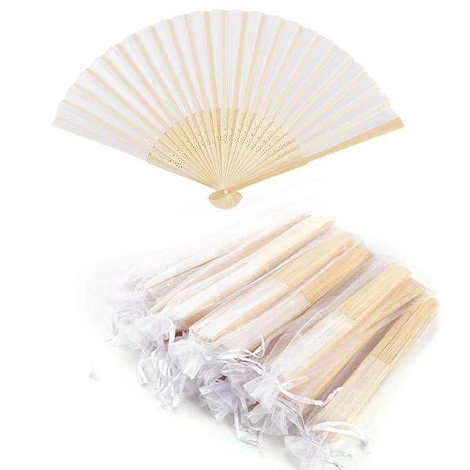 Anyasen Fächer Holzfächer Hochzeitsfächer Gastgeschenke Fächer Weiß Stofffächer Handfächer Stofffächer Hochzeit (Weiß, 10 Stü