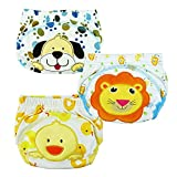 Tai523 3pcs Baby Kids Potty Training Pants Washable Cloth Diaper Nappy Underwear (XL),As Pictures (Dog/Duck/Lion)
