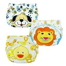 TAIYCYXGAN 3pcs Baby Kids Potty Training Pants Washable Cloth Diaper Nappy Underwear Yellow M