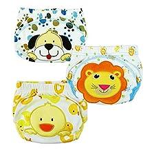 Taiycyxgan 3pcs Baby Kids Potty Training Pants Washable Cloth Diaper Nappy Underwear L