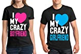 Matching Couples Shirt I Love My Crazy Boyfriend Girlfriend T-Shirt Black Men Large/Ladies