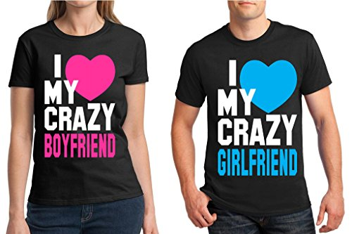 Matching Couples Shirt I Love My Crazy Boyfriend Girlfriend for sale  Delivered anywhere in USA
