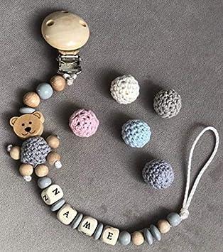Schnullerkette mit Namen ★ Häkelperlen Holz Ring ★ Natur Holz Junge Baby Blau