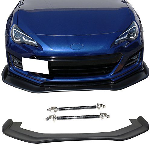 Front Bumper Lip & Rod Splitter Universal Fitment | RB Style 68x20inch PP Black Air Dam Chin Diffuser Lip Splitter By IKON -