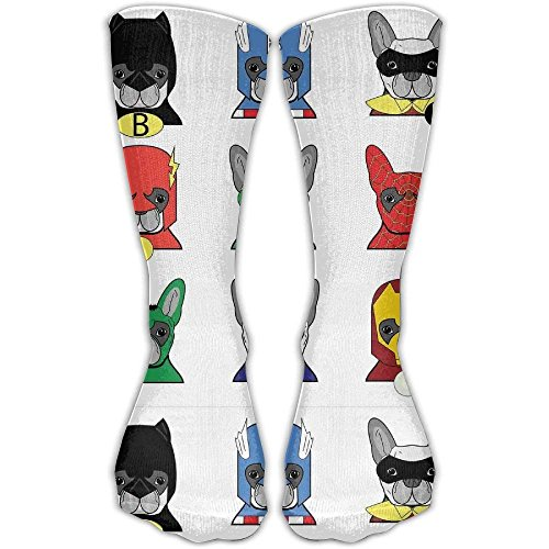 Superhero Bulldog Fun Cartoon Puppies Comfortable Graduated Compression Socks For Women And Men,Athletic Socks