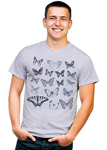 Retreez Vintage Butterflies Butterfly Collection Graphic Printed Unisex Men/Boys/Women T-Shirt Tee - Light Grey - Medium