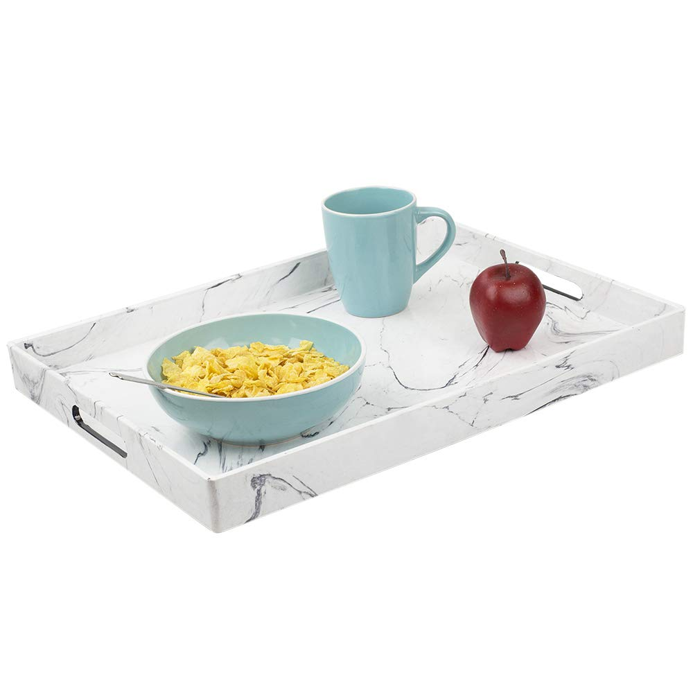 Serving tray by HDS Trading 18 x 13 coffee tray Faux Marble, White