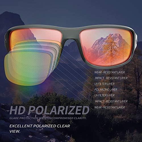 TOREGE Polarized Sports Sunglasses for Men Women Cycling Running Driving Fishing Golf Baseball Glasses GRILAMID TR90 Frame TR03