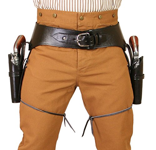 Historical Emporium Men's Double Plain Leather Western Gun Belt and Holster .22 Cal 42 Black