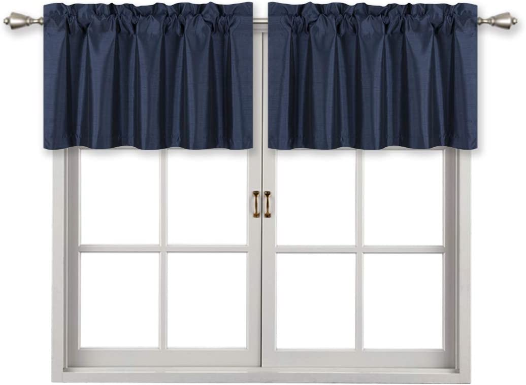 Home Queen Solid Rod Pocket Blackout Curtain Valance Window Treatment for Living Room, Short Straight Drape Valance, 2 Pieces, 94 cm x 46 cm (37 X 18 Inch), Navy